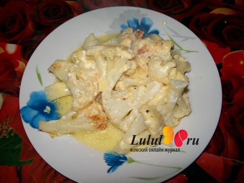 тушеная цветная капуста со сметаной и сыром рецепт