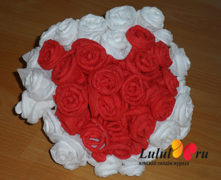 Цветы из салфеток. Пошаговое фото. Одуванчик, роза, пион
