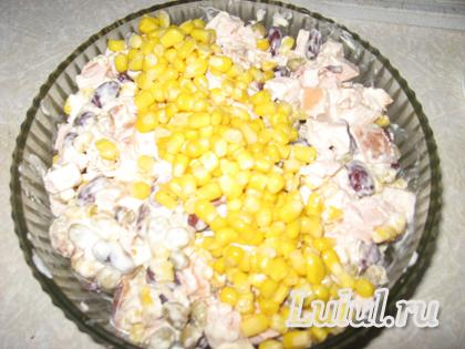 быстрый салат с кукурузой, фасолью, с курицей, зеленым горошком