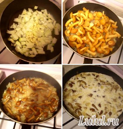 Спагетти с курицей и грибами в сливочном соусе рецепт ...