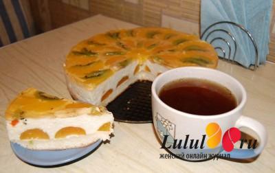 бисквитный творожный торт с персиками
