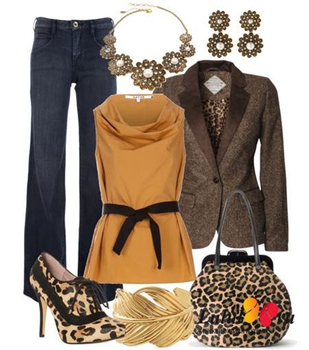 сочетание леопардовой сумки с леопардовыми туфлями