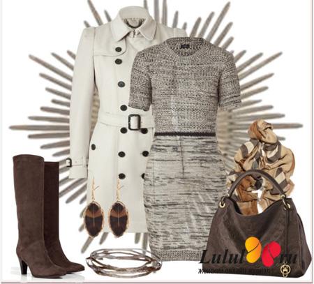 платье из шерстяной ткани