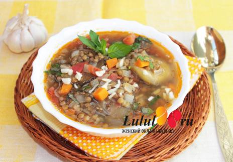 постный суп с чечевицей с баклажанами