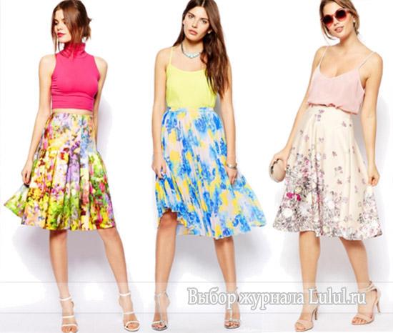 с чем носить юбку в цветочек