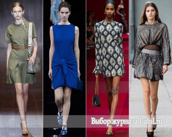 Диаметрально противоположно смотрятся модные весенние платья весна-лето 2015 года от Emporio Armani, чья модель синего цвета