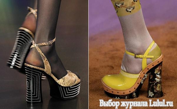 модные туфли с толстым каблуком