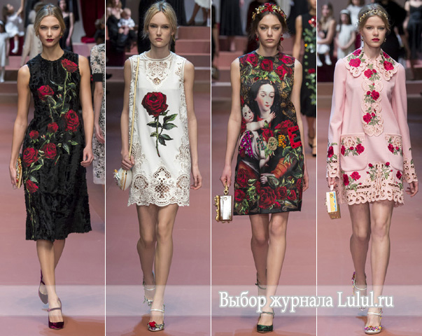 Розы в коллекции Долче Габанна осень-зима 2015-2016 года