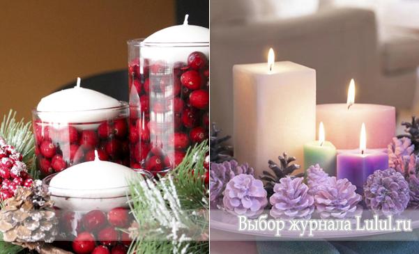 Простая новогодняя композиция со свечами своими руками