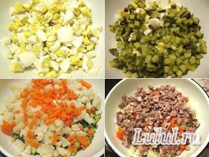 рецепты салата оливье с языком