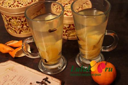 Пряный компот из мандаринов и яблок