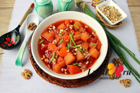 Вкусный постный борщ в мультиварке с грецкими орехами рецепт с фото