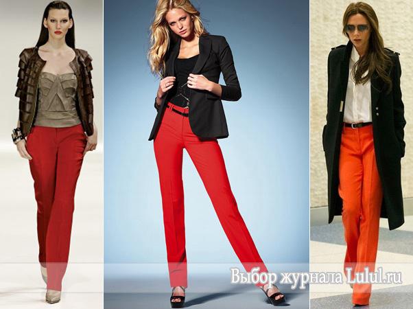 С чем носить красные брюки фото
