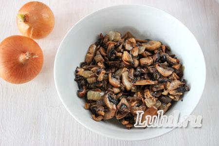 Закуска на Пасху - тарталетки с грибами, луком и яйцом  «Цыплята»