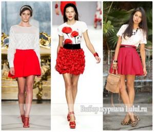 красная короткая юбка с чем сочетать