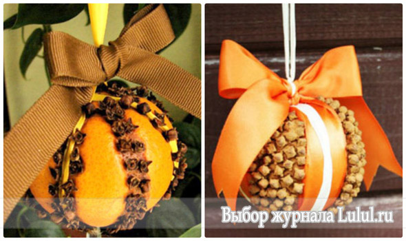 елочные игрушки из апельсина и корицы, гвоздики с бантом