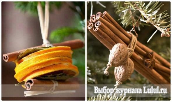 елочные игрушки из апельсина и корицы, гвоздики