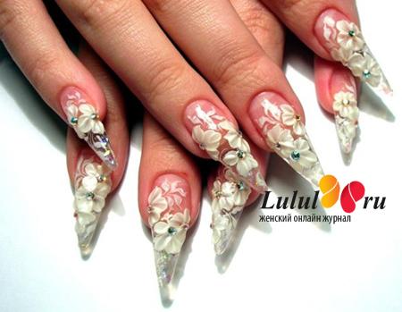 Свадебный дизайн нарощенных ногтей