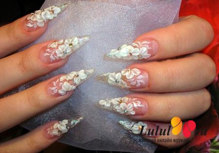 свадебный дизайн нарощенных ногтей фото
