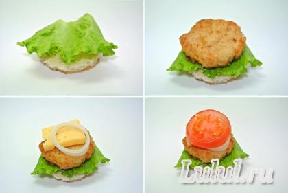 праздничное канапе гамбургер