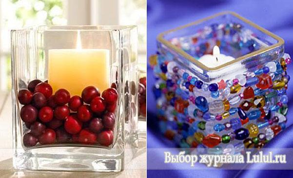 Простая новогодняя композиция со свечами своими руками фото