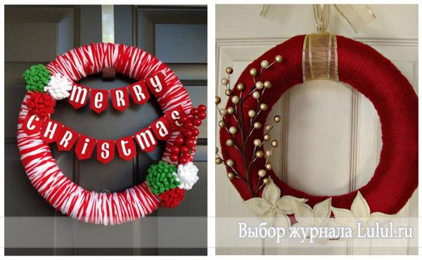 идеи рождественских венков нитки