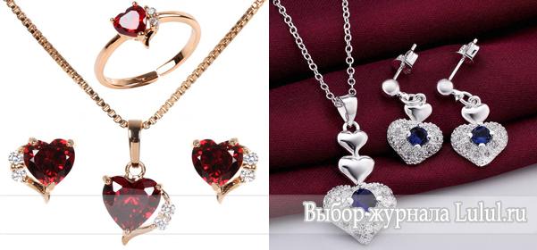 Украшения в виде сердечек: браслет, кольцо, кулон, серьги, набор, брошь, колье
