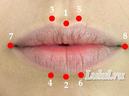 нарисовать контур губ карандашом
